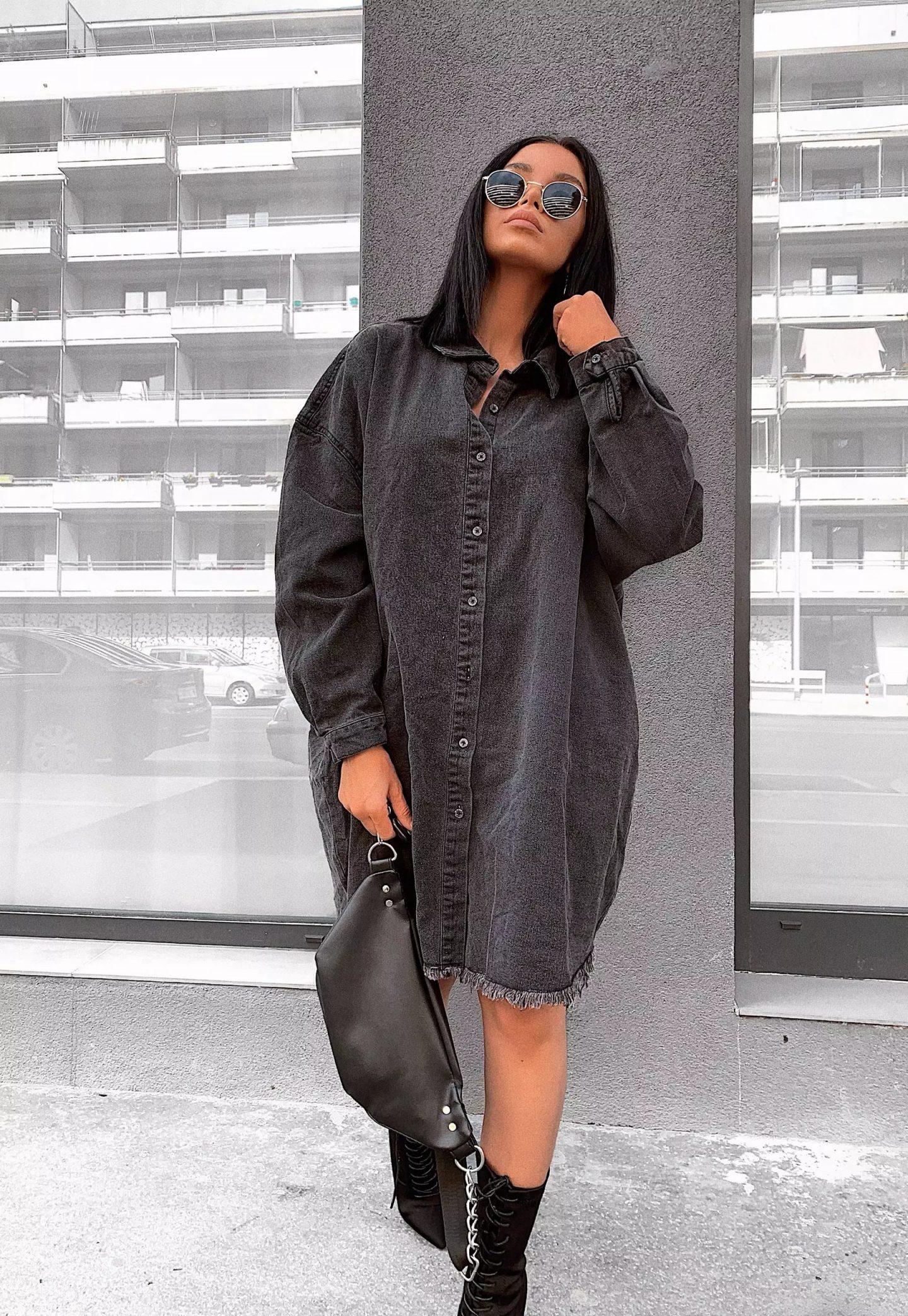 Oversized dark grey denim dress look