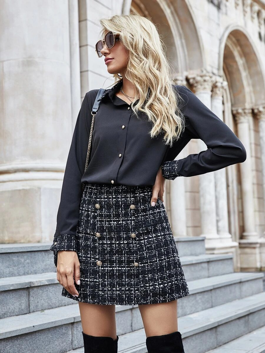 Black tweed skirt outfit with over the knee boots