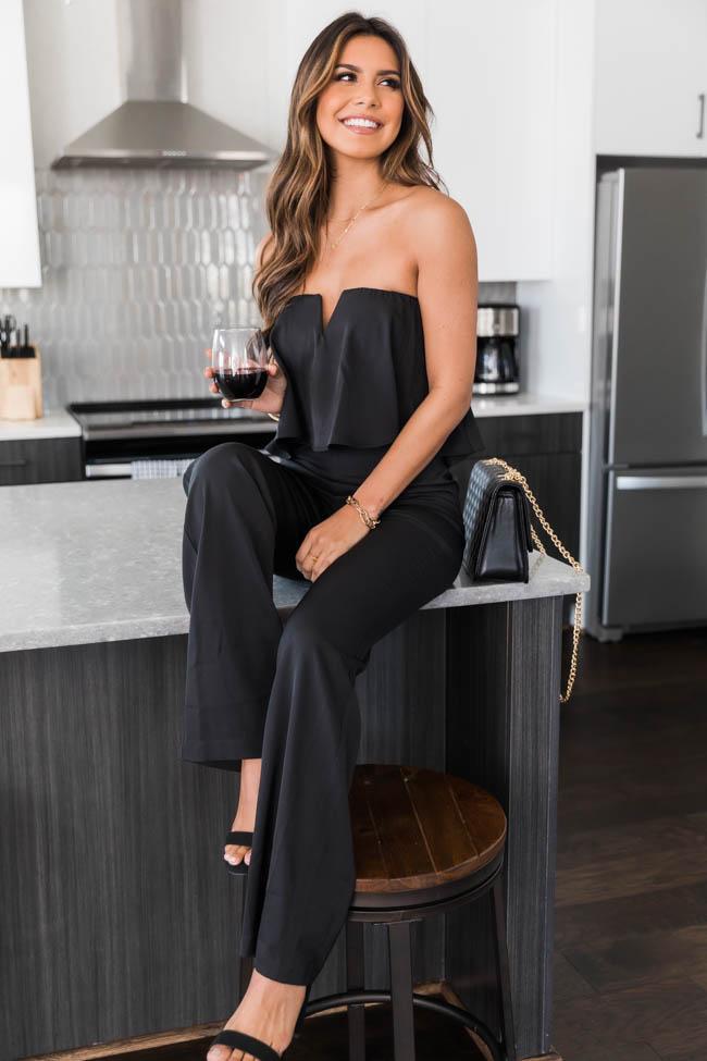 Black off shoulder jumpsuit outfit