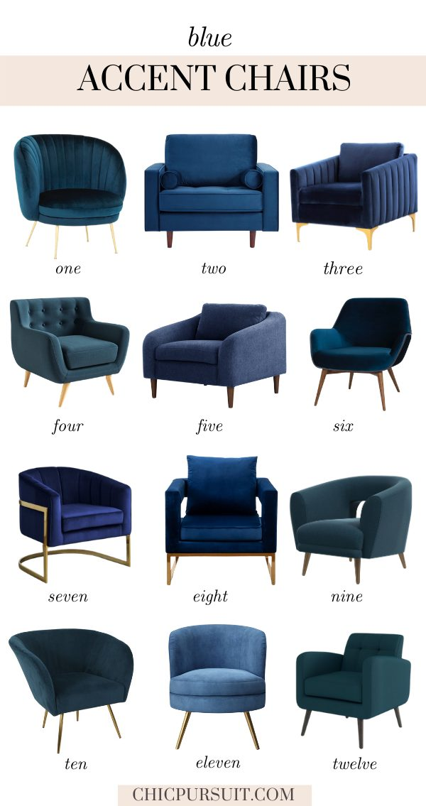 Beautiful modern blue accent chairs
