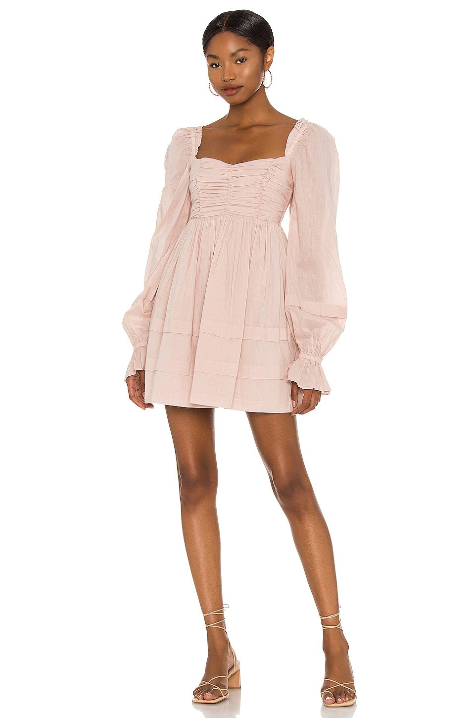 Cute feminine dusty pink dress with puffy sleeves