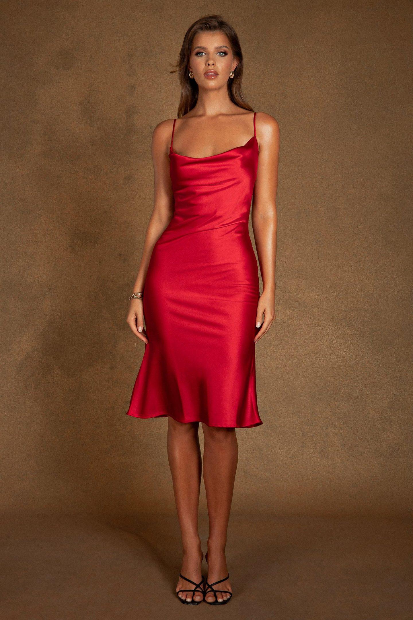 Satin red slip dress