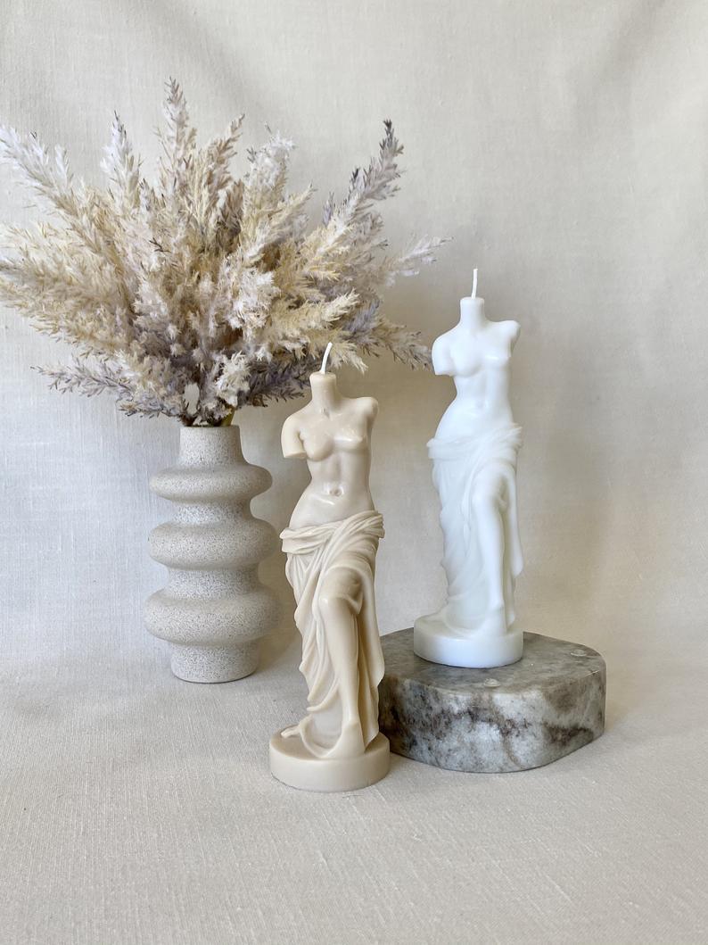 Trendy sculptural goddess candle, Milo de Venus bust candle