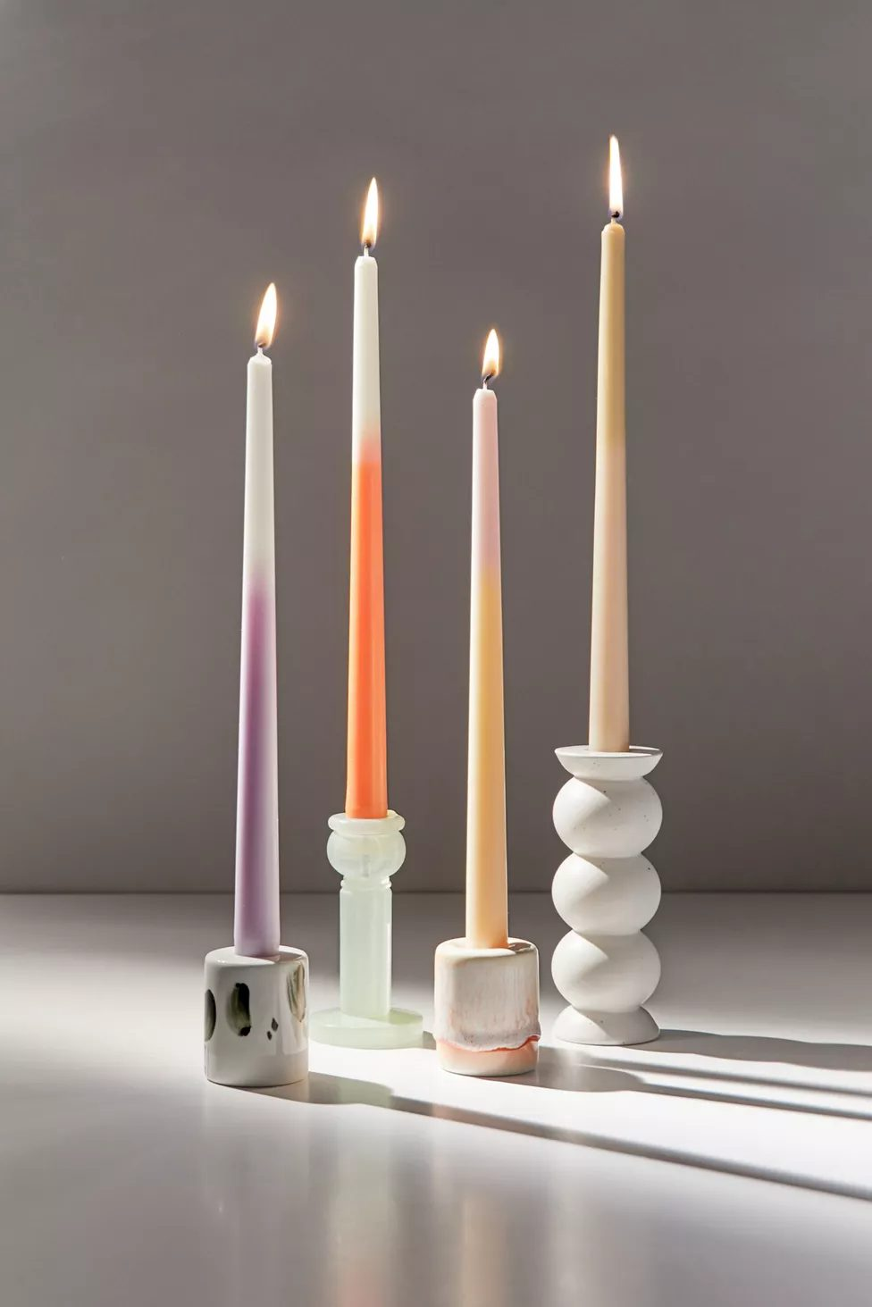 Trendy ombre tapered candles