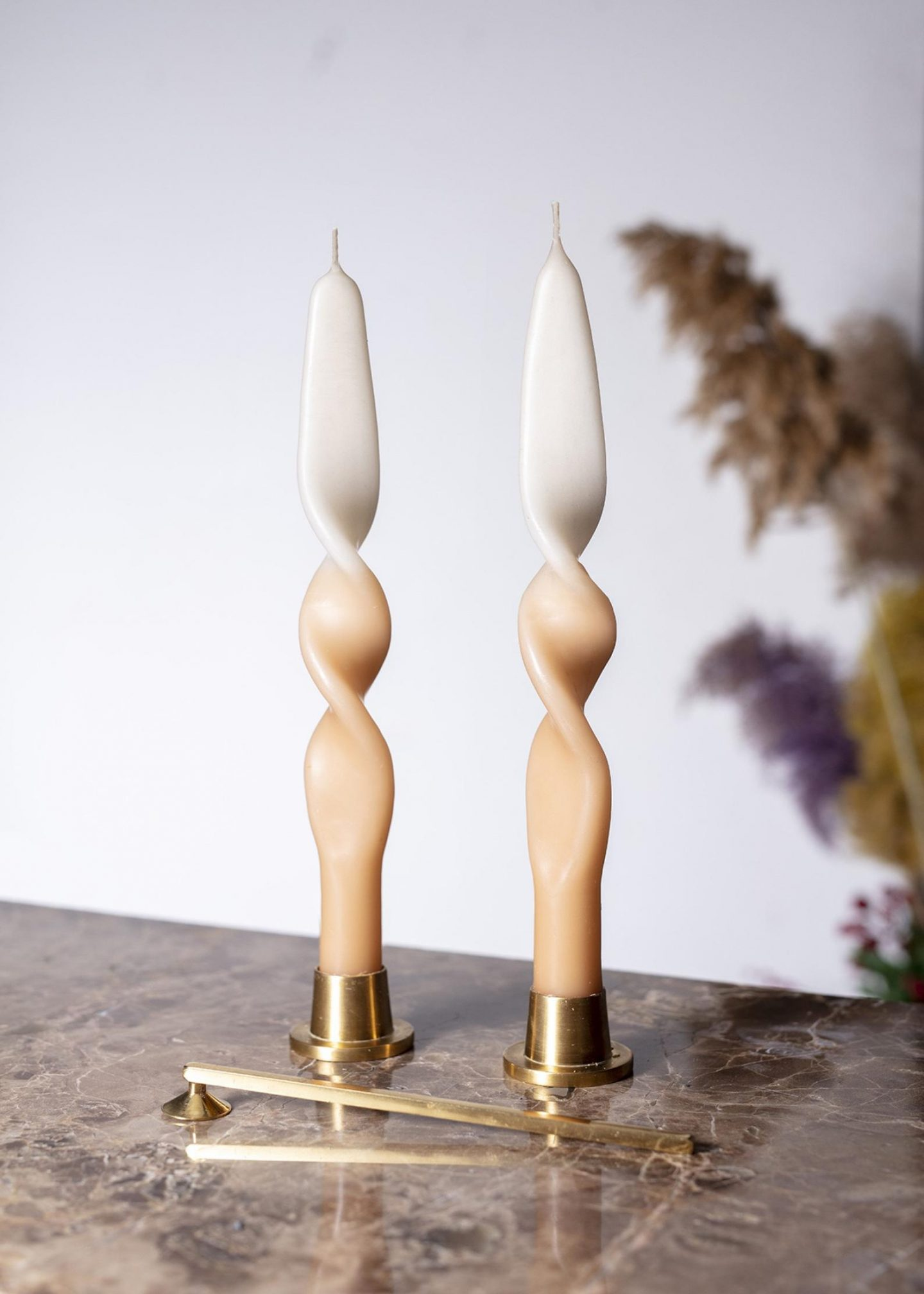 Trendy twisted ombre taper candles