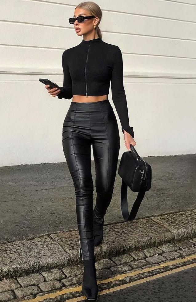 All black outfits with faux leather pants