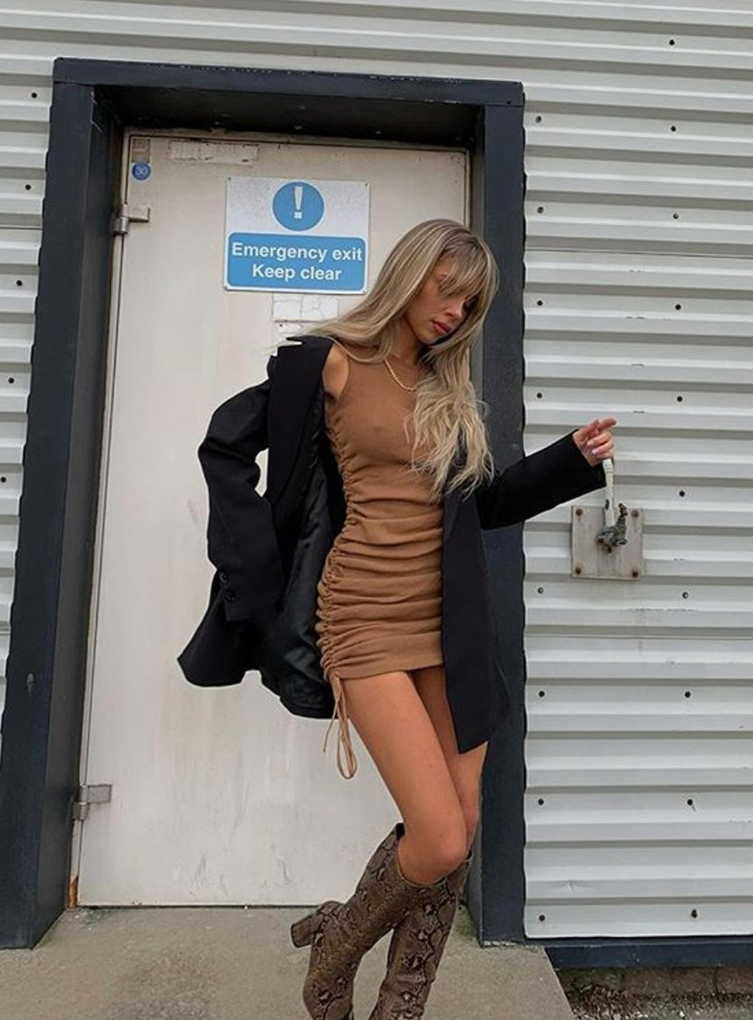 Ruched brown dress