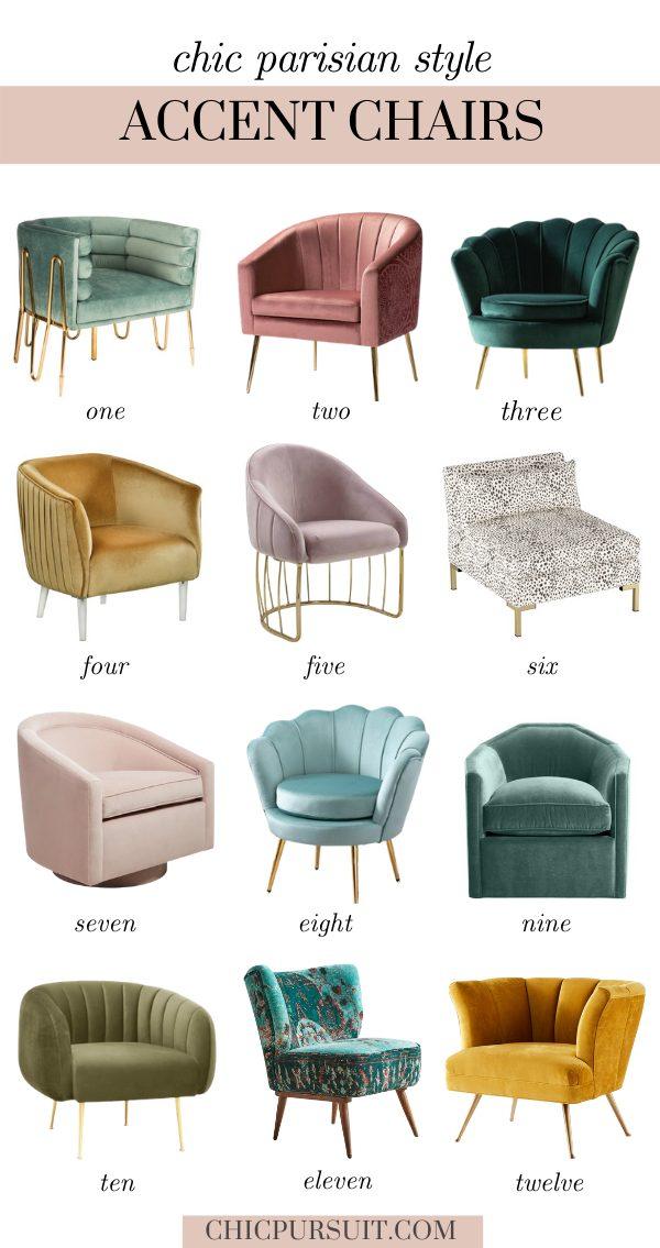 Chic Parisian style velvet accent chairs