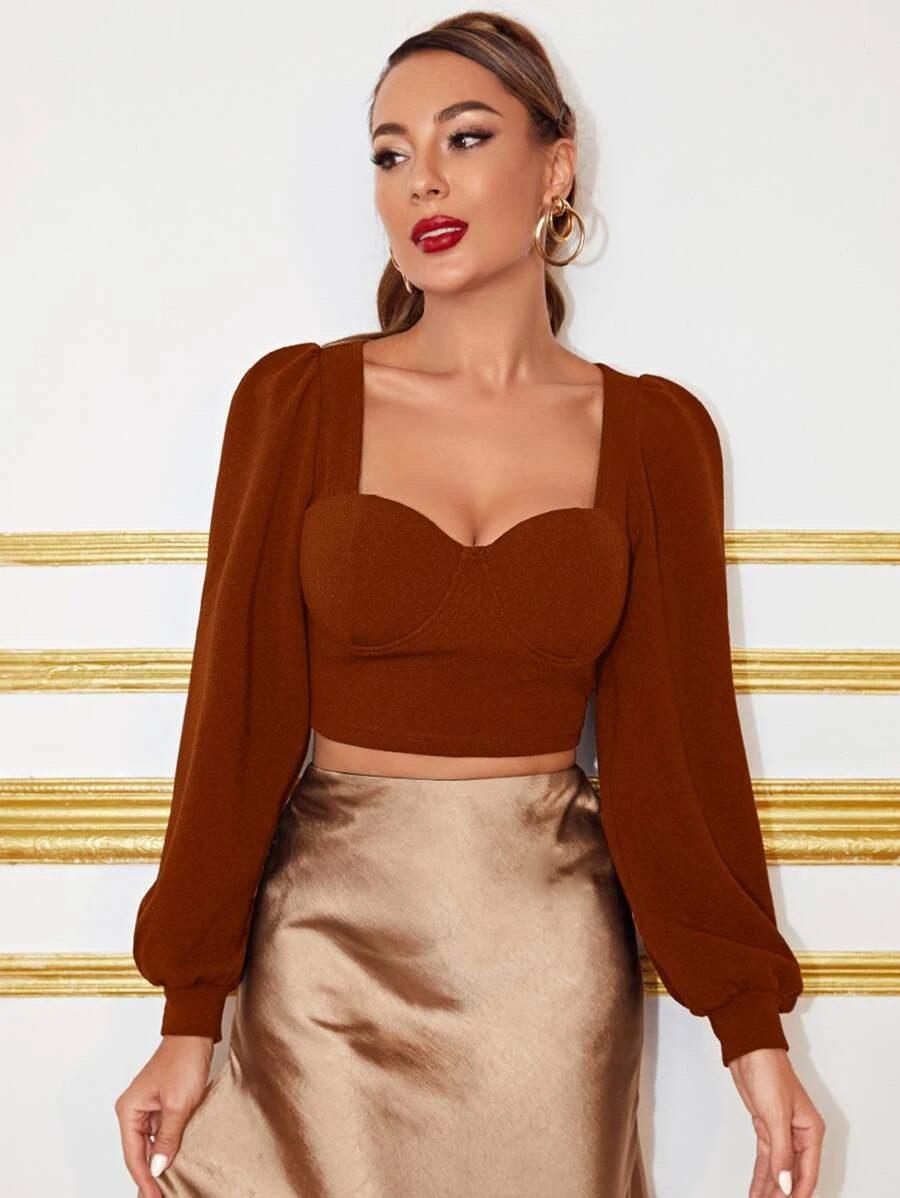 Brown sweetheart neckline top with bronze skirt