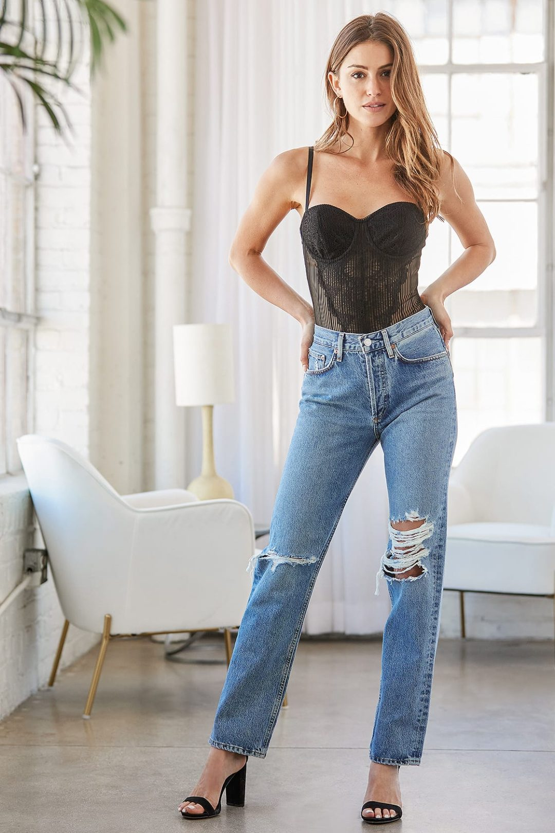 Cute black lace corset outfit with jeans