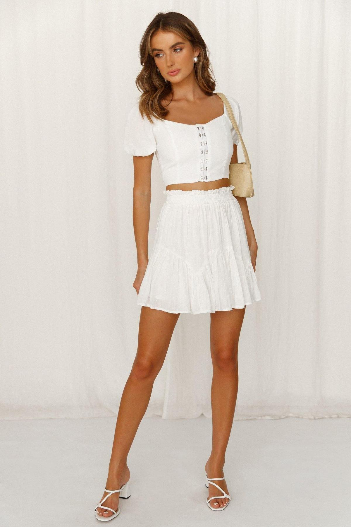 White matching co ord set with skirt