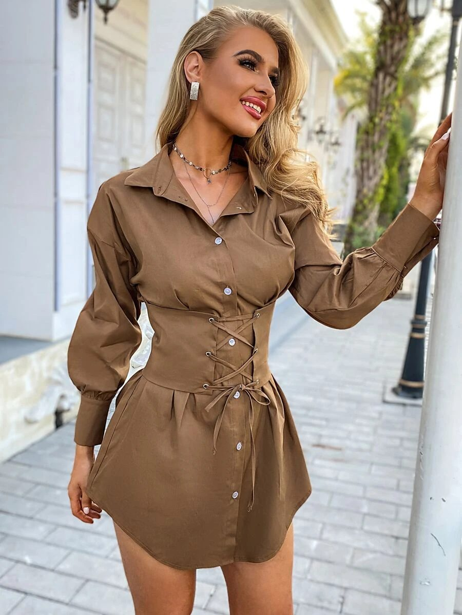 Brown corset dress outfit