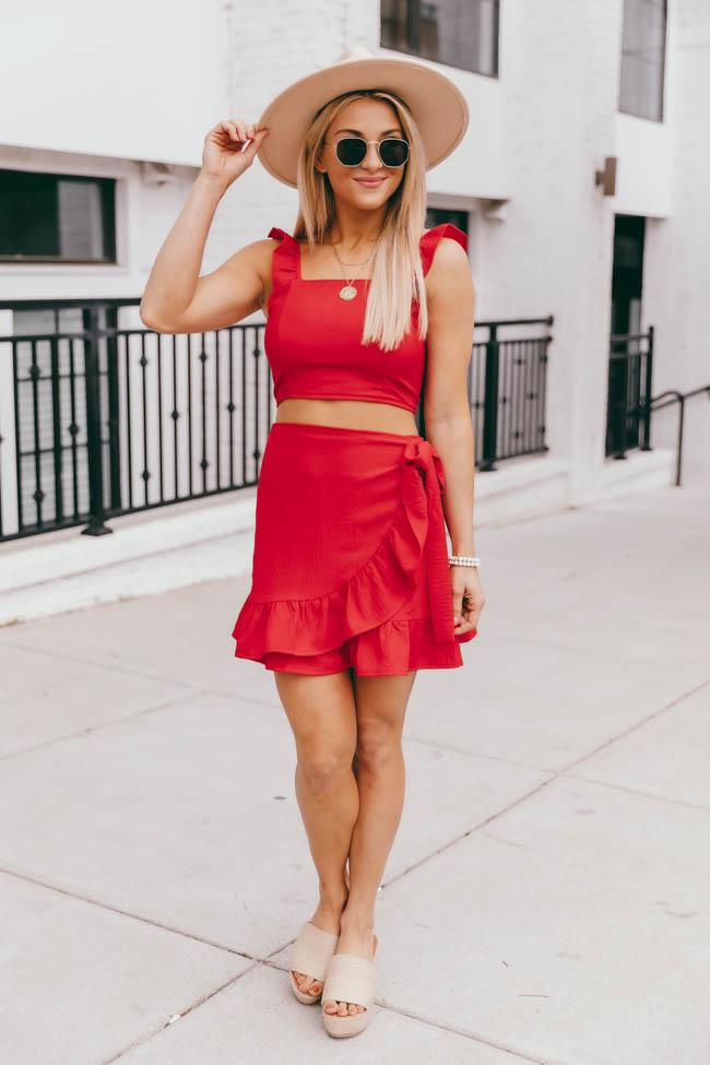 Cute red matching skirt and crop top outfit