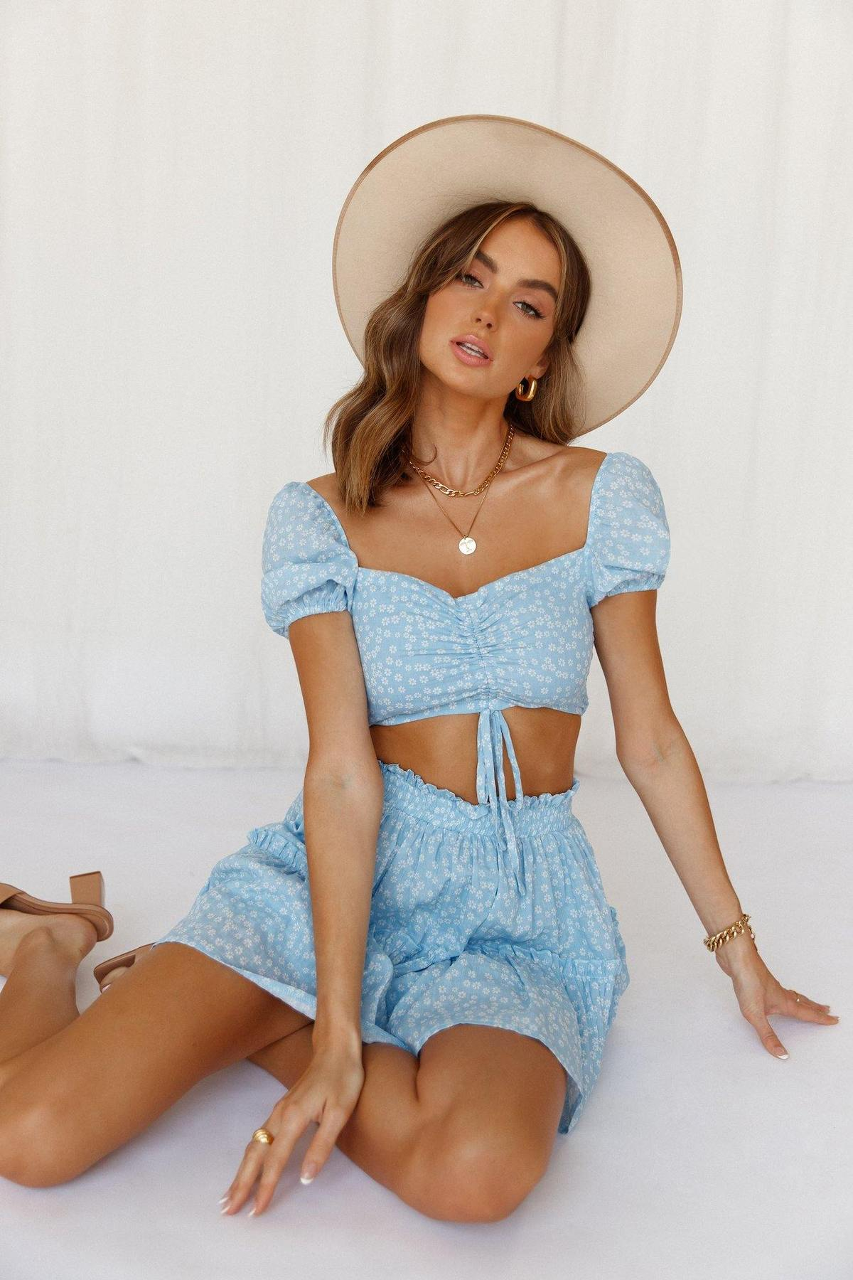 Baby blue floral crop top outfit with skirt