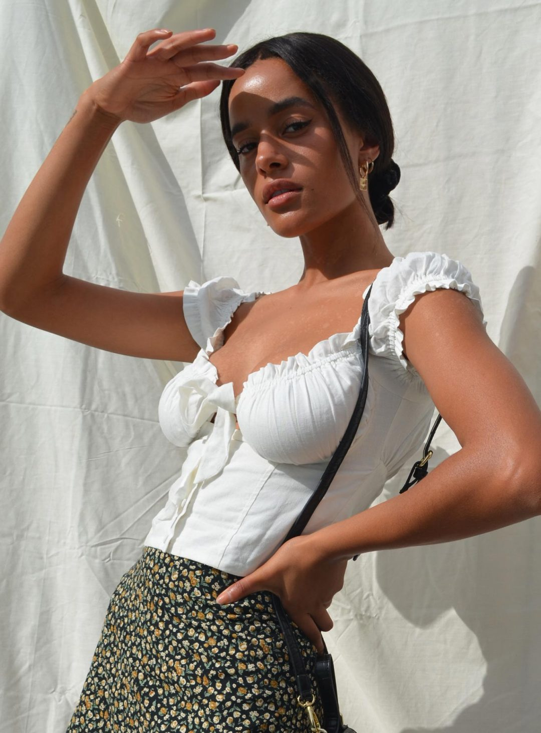 White milkmaid crop top outfit