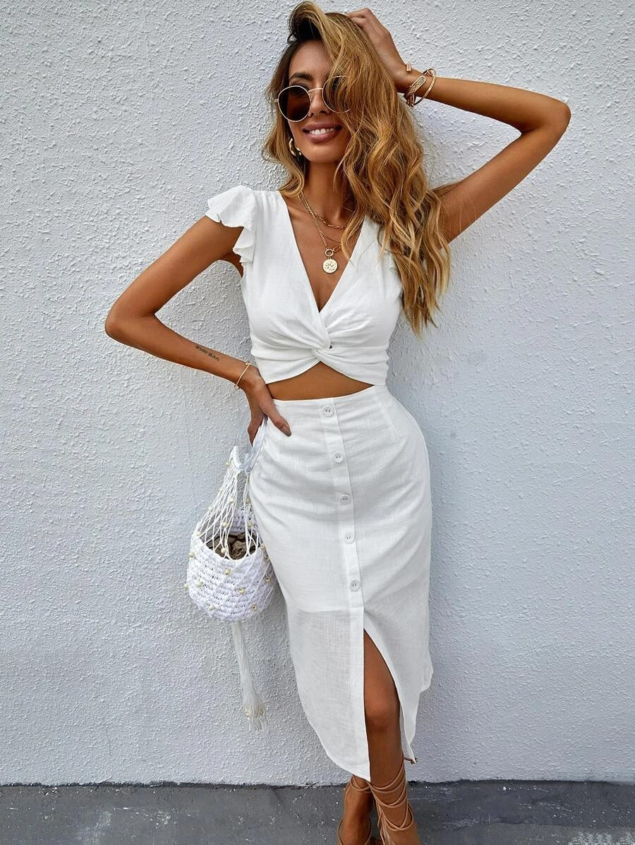 White summer crop top outfits with matching skirt