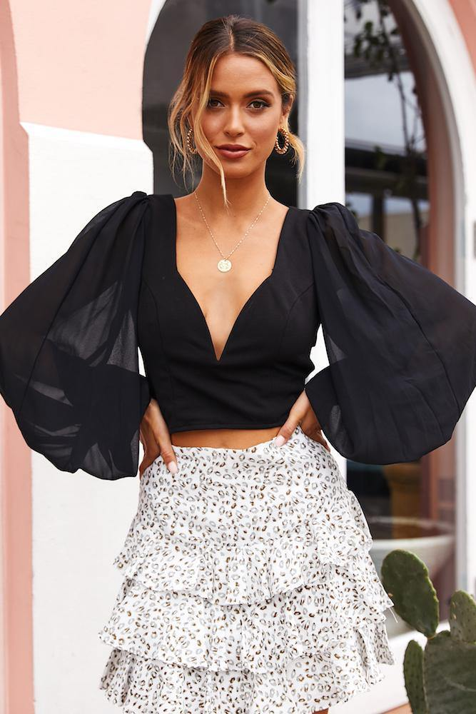 Black balloon sleeve crop top outfit with skirt