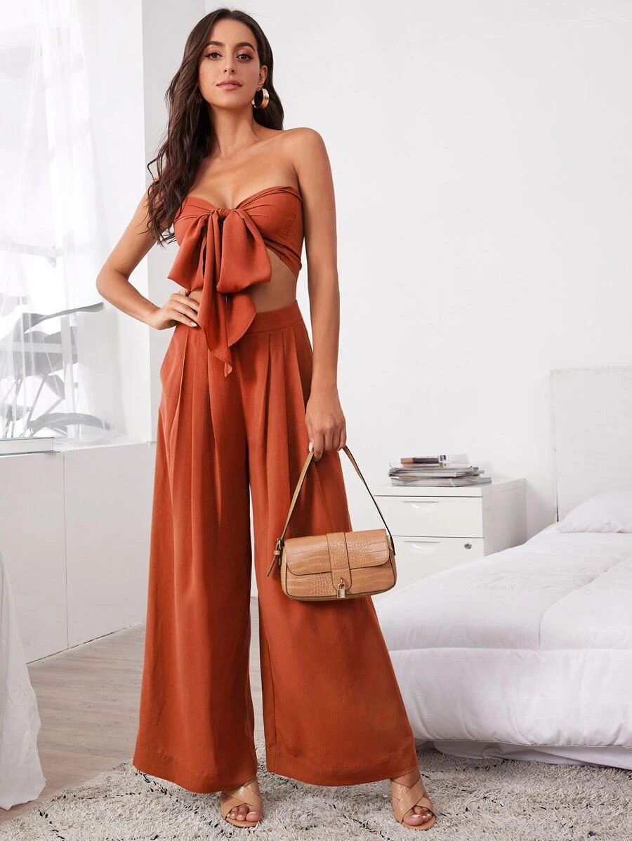 Beautiful burnt orange crop top outfit with flared pants