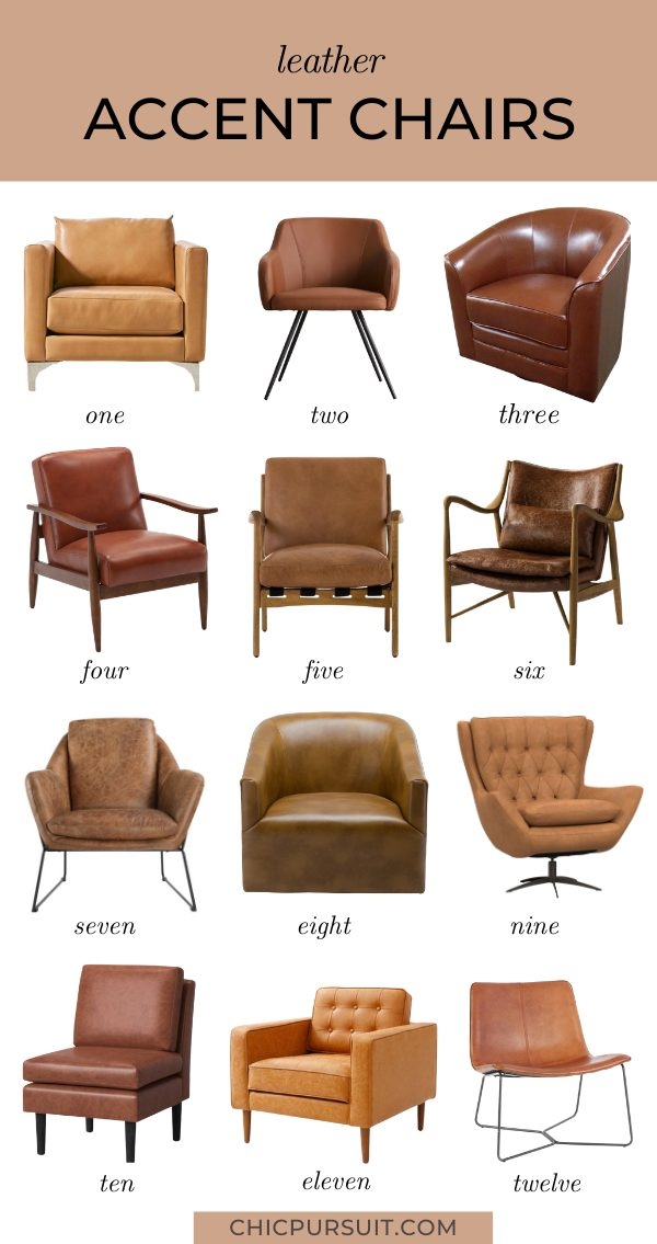The best unique brown leather accent chairs