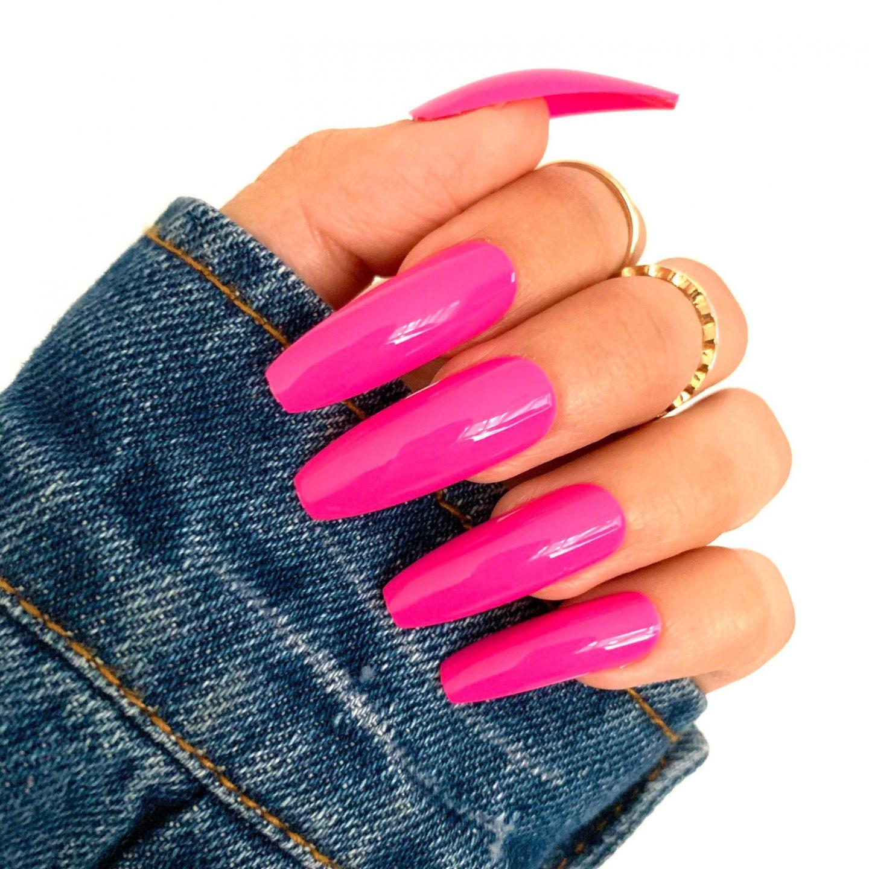 Lon fuchsia pink coffin nails