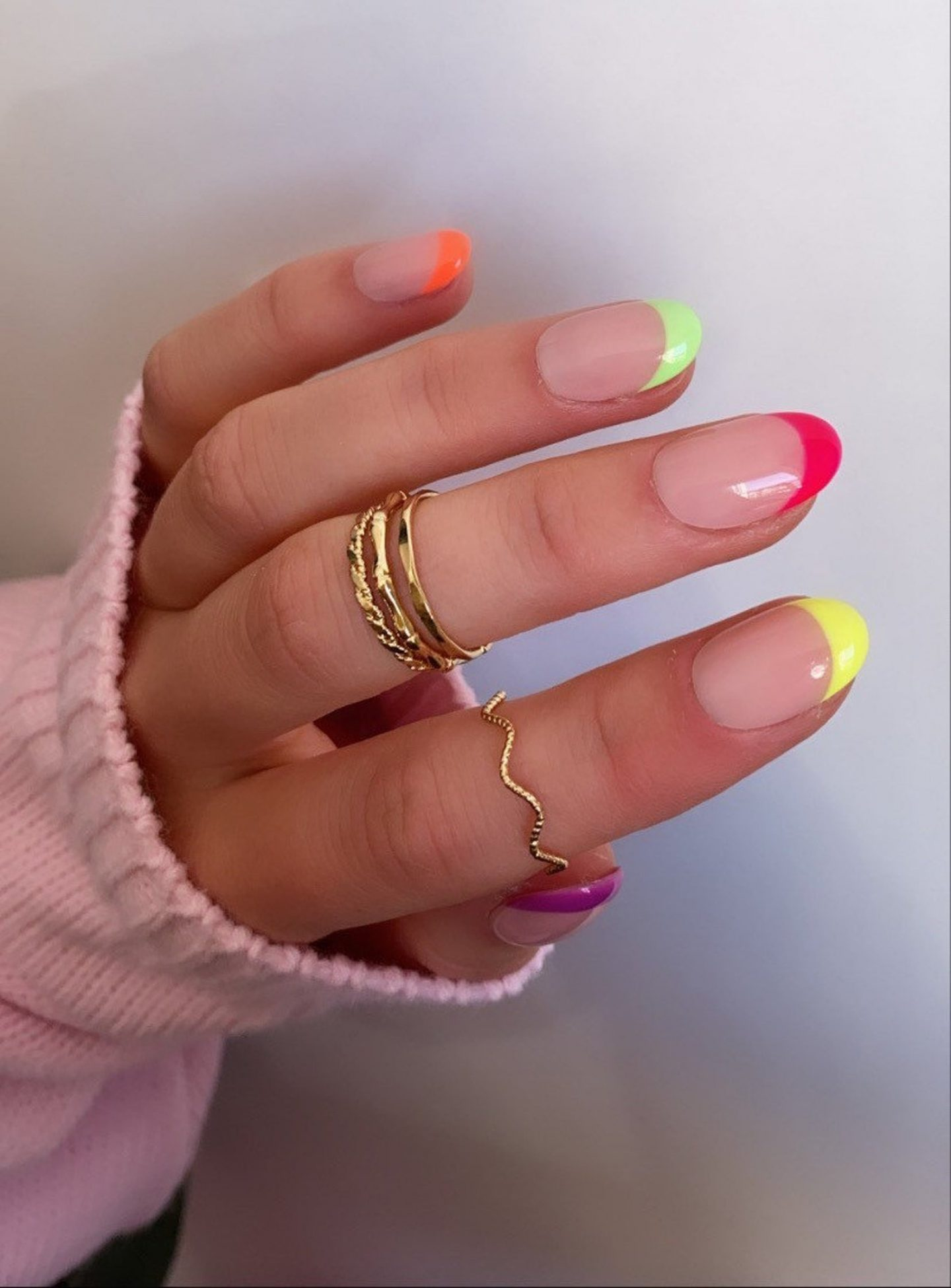 Colorful neon French tip nails