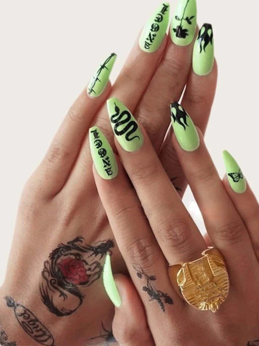 Neon green nails with snake nail art
