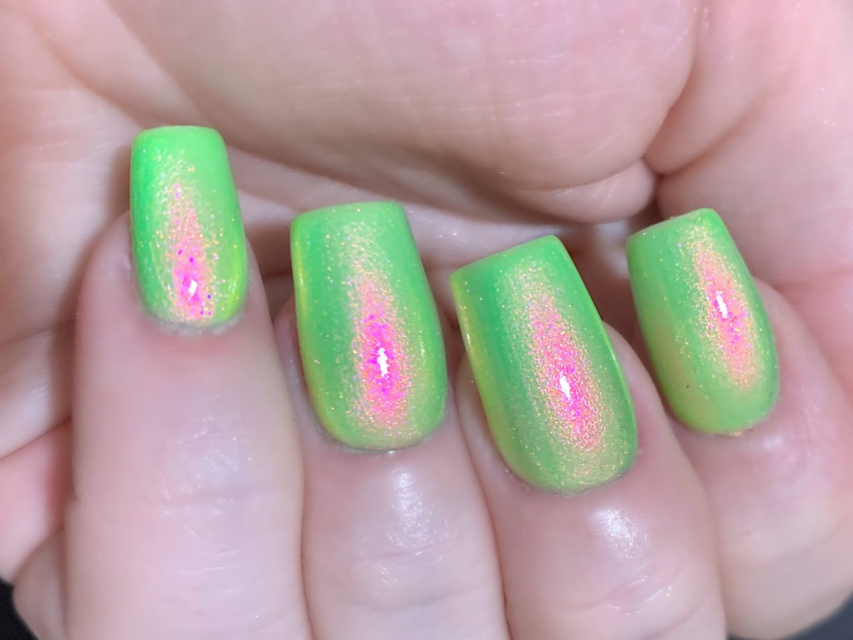 Holographic pink and green watermelon nail polish