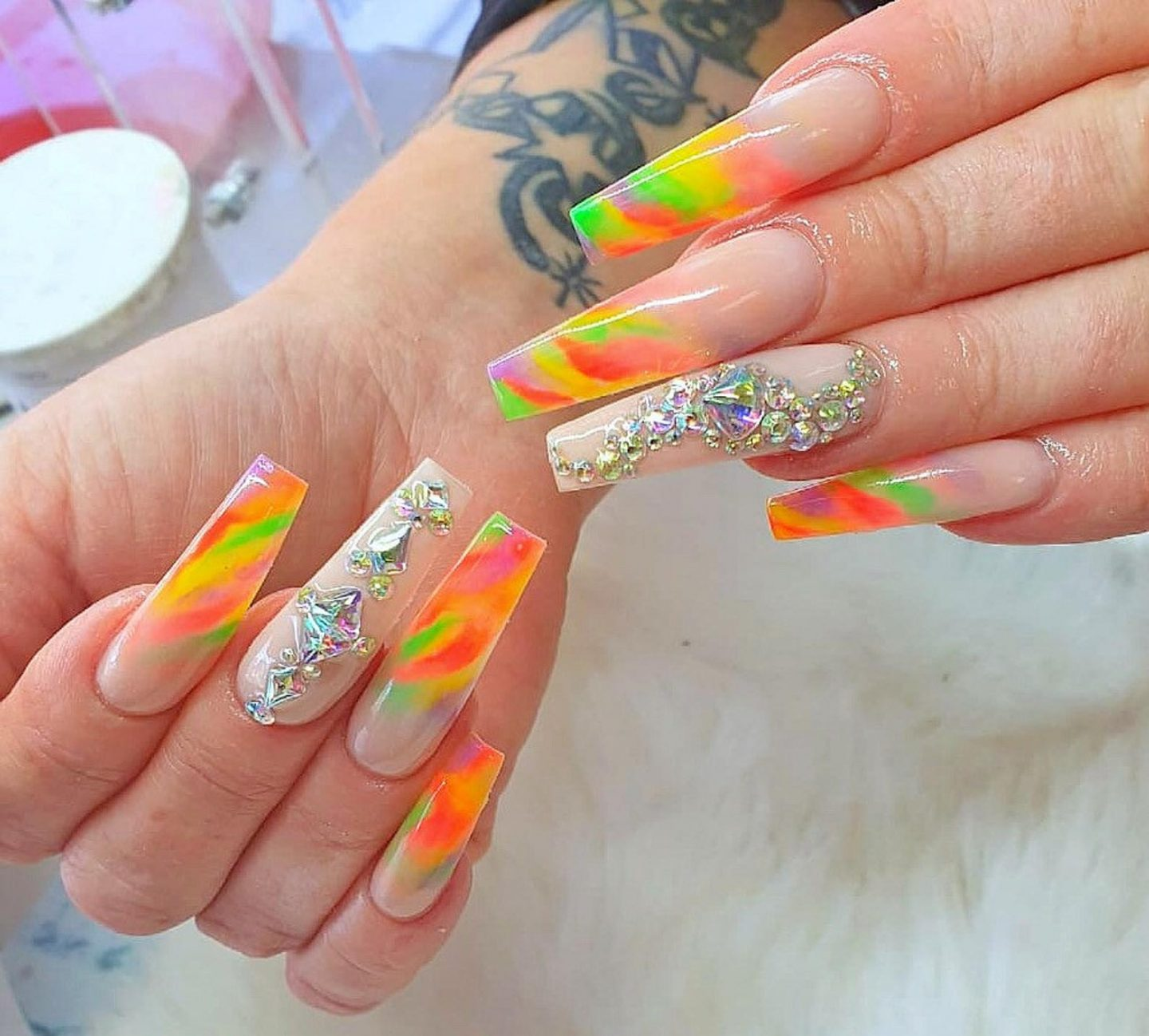 Long colorful rainbow nails with rhinestones