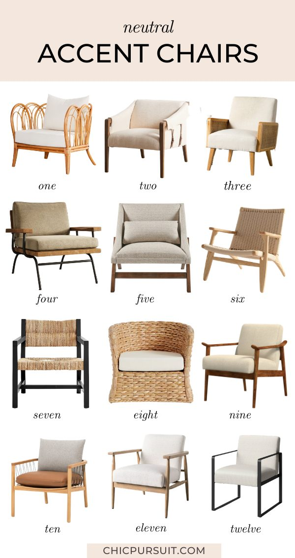 Stylish neutral accent chairs