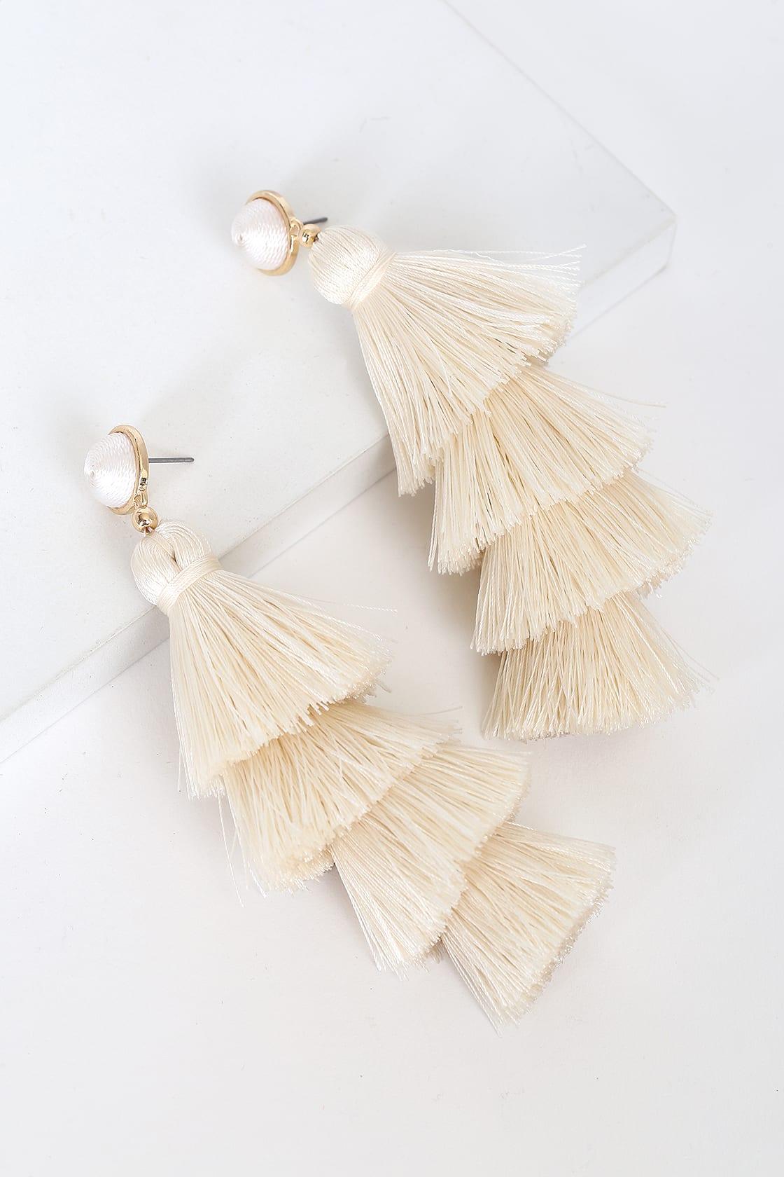 Affordable off white tassel earrings