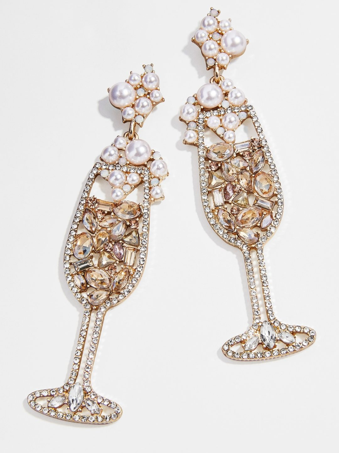 Silver champagne and pearl statement earrings