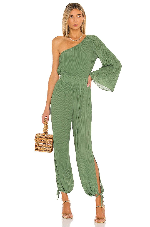 Cute olive green asymmetric jumpsuit