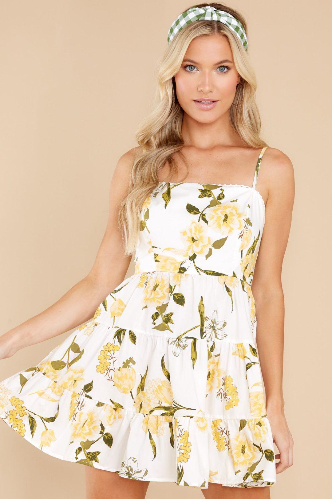 Short lemon print summer dress