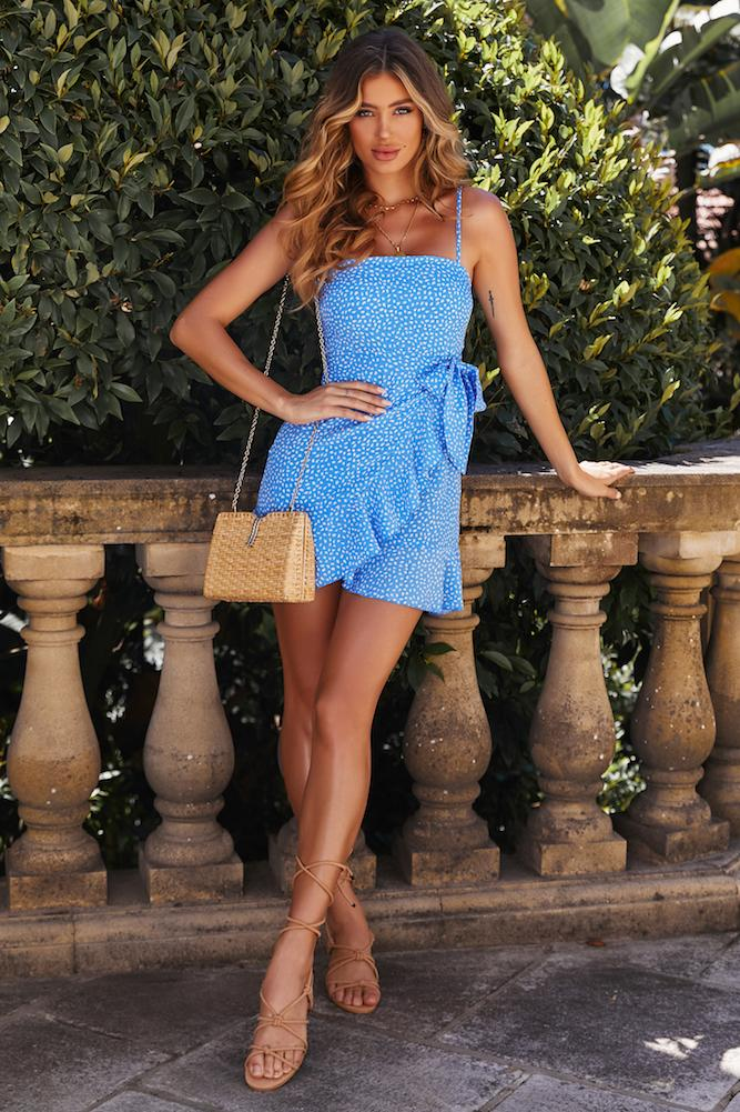 Blue wrap dress with floral print