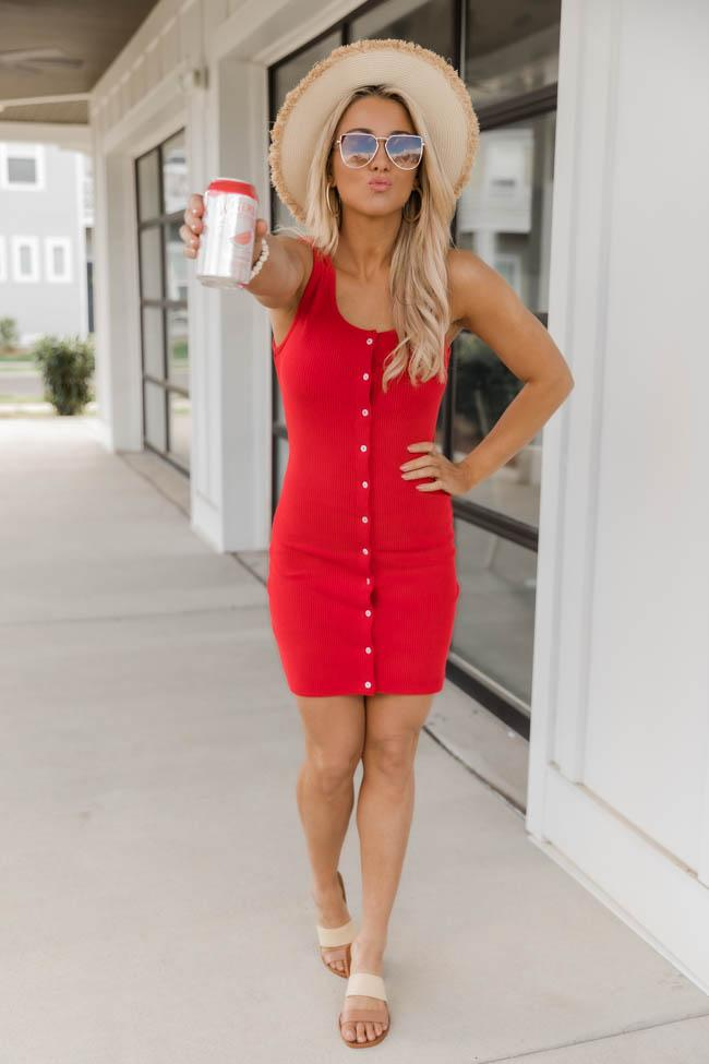 Red mini dress with buttons