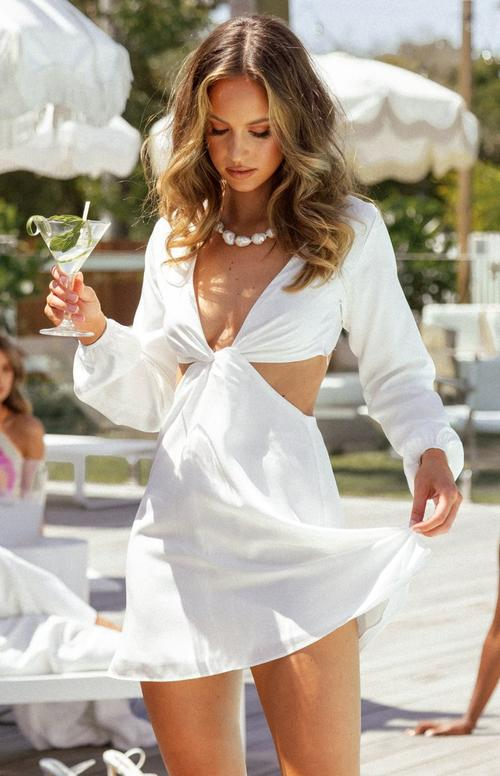 White cut out summer dress with long sleeves