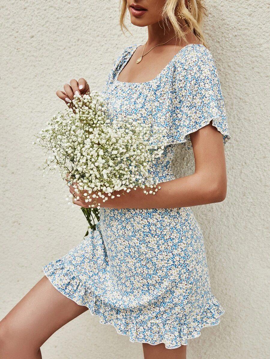 Light blue floral mini dress