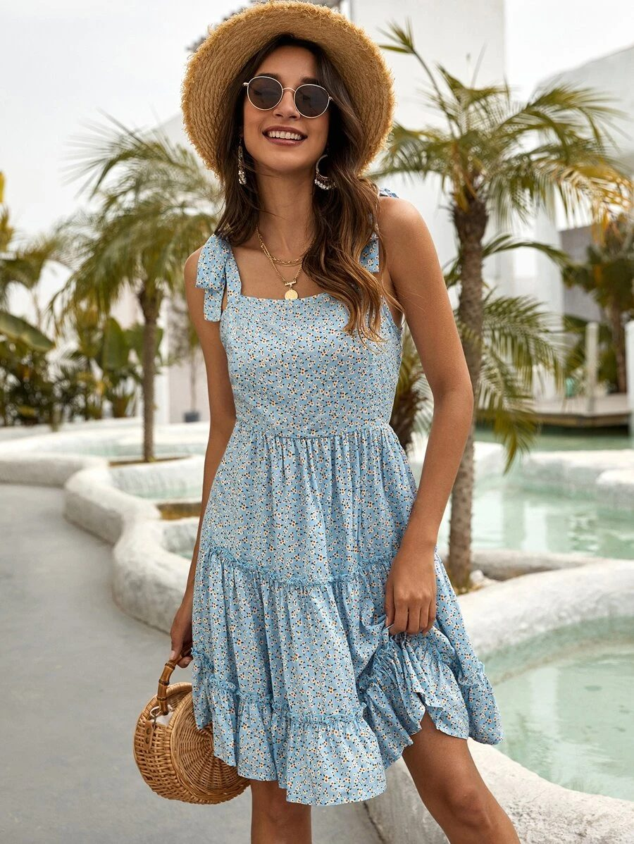 Baby blue floral ruffle dress