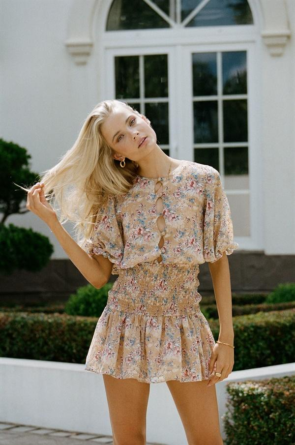 Brown floral dress with ruffles