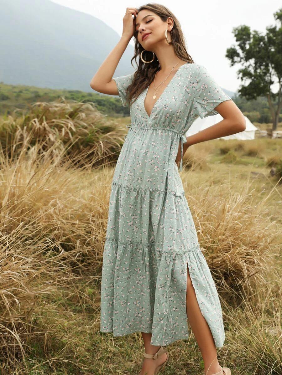 Mint green cottagecore summer dress
