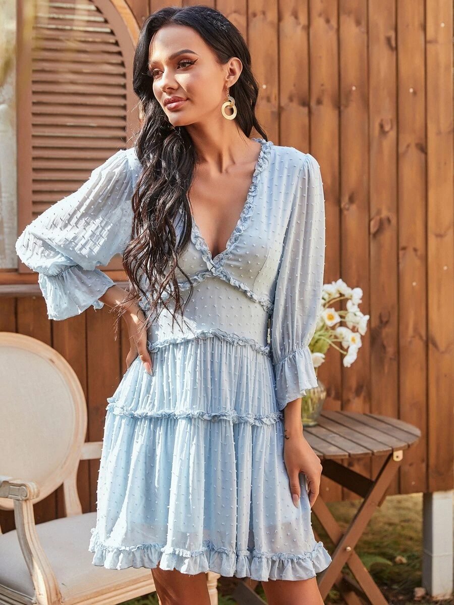 Baby blue ruffle dress with sleeves