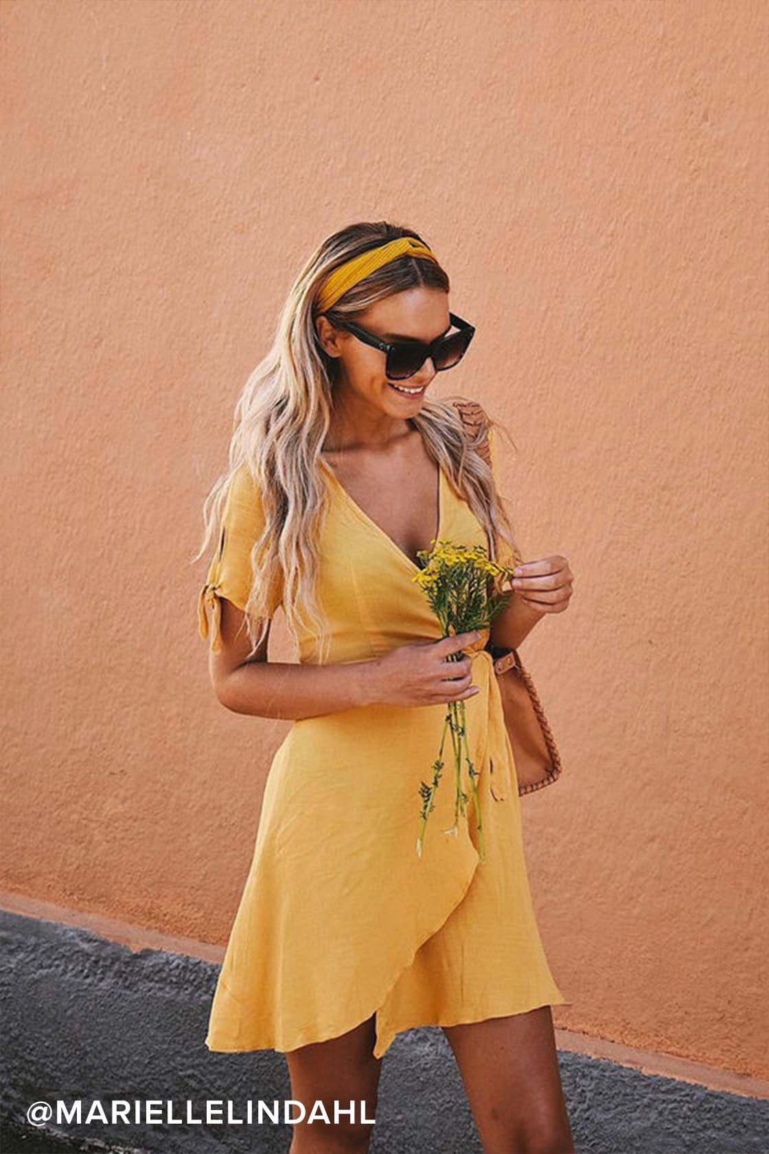Casual yellow wrap dress