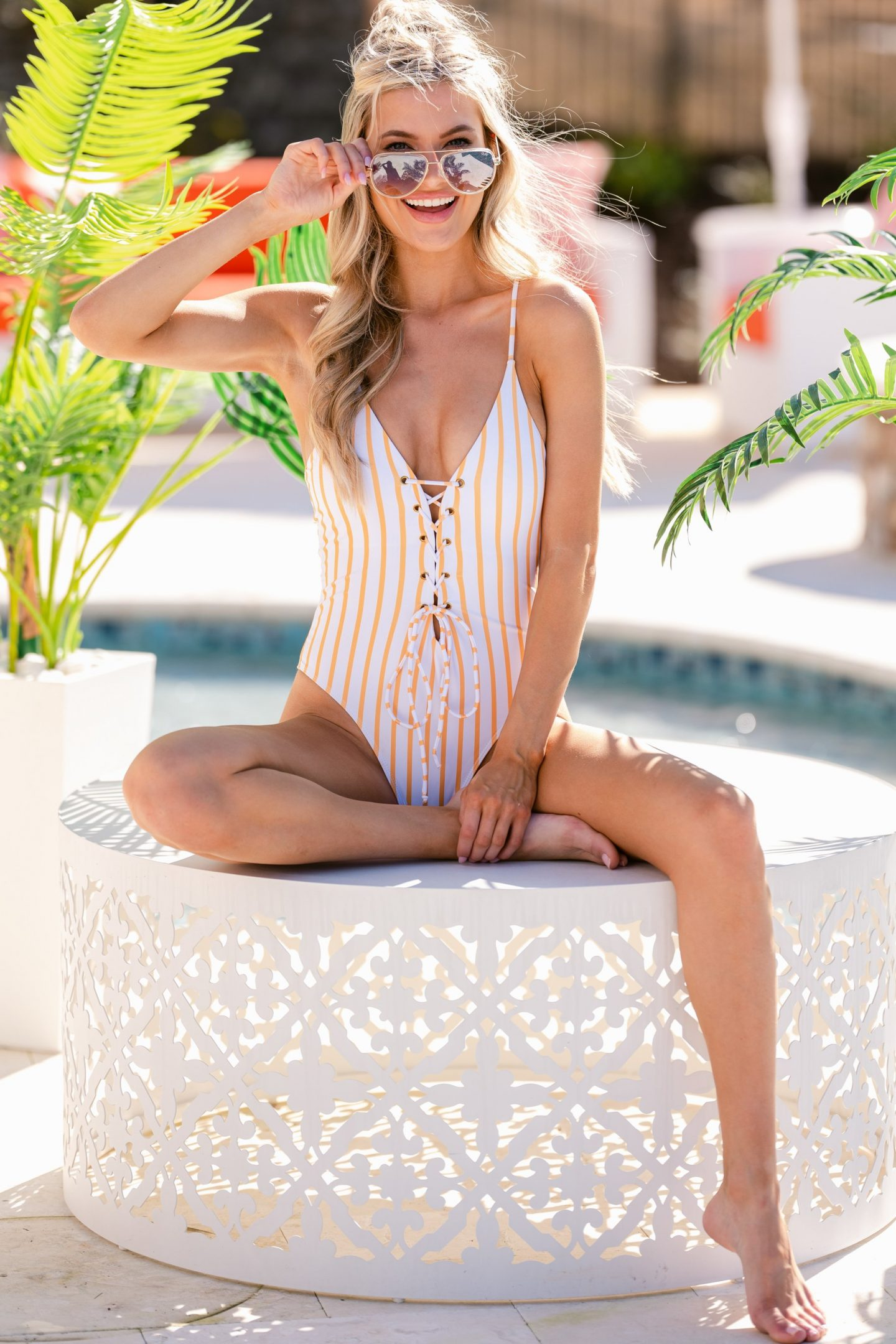 Cute white and pink striped one piece swimsuit