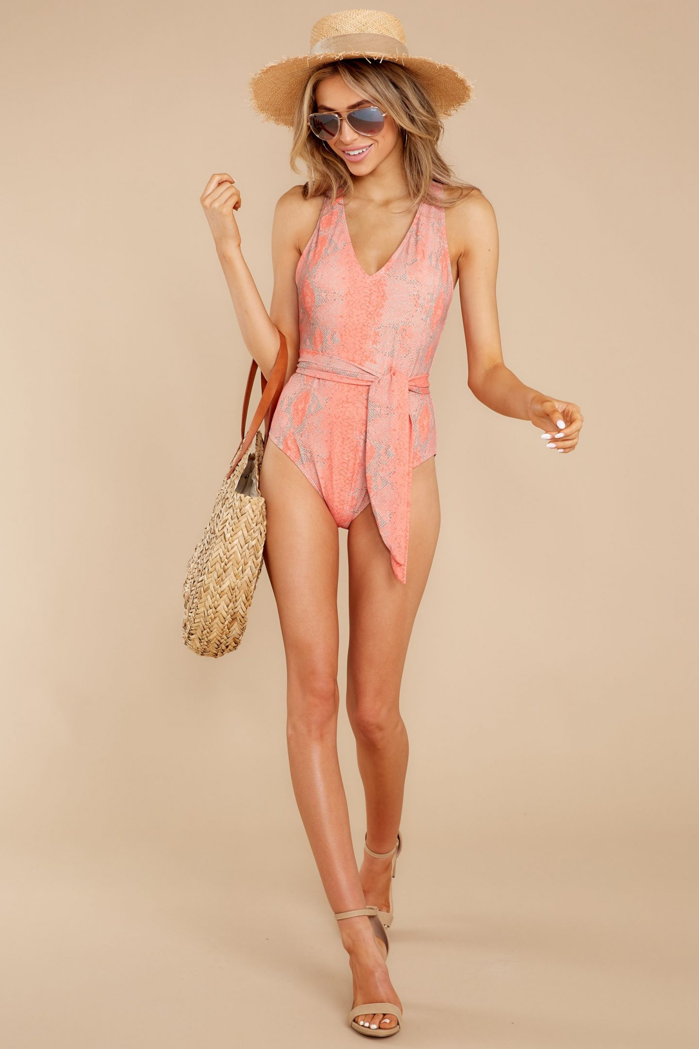 Coral one piece swimsuit outfit