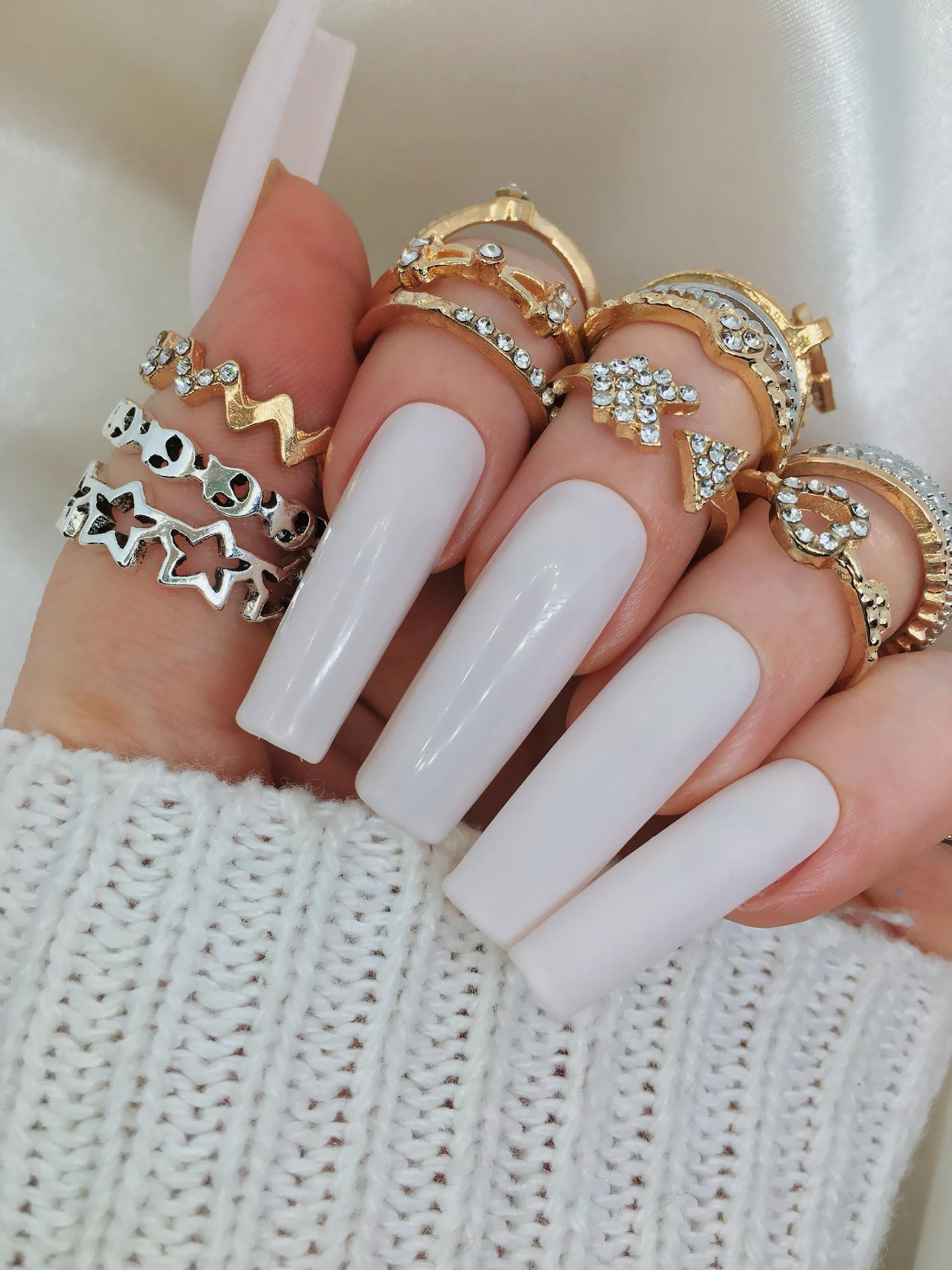 Long cream coffin nails