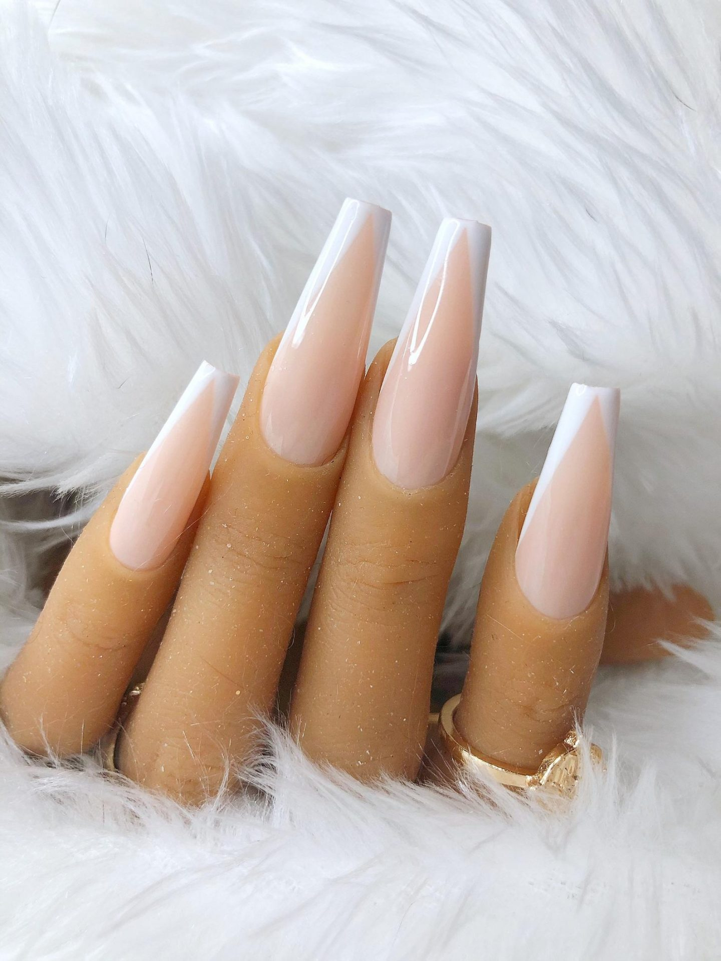 Long modern French tip nails