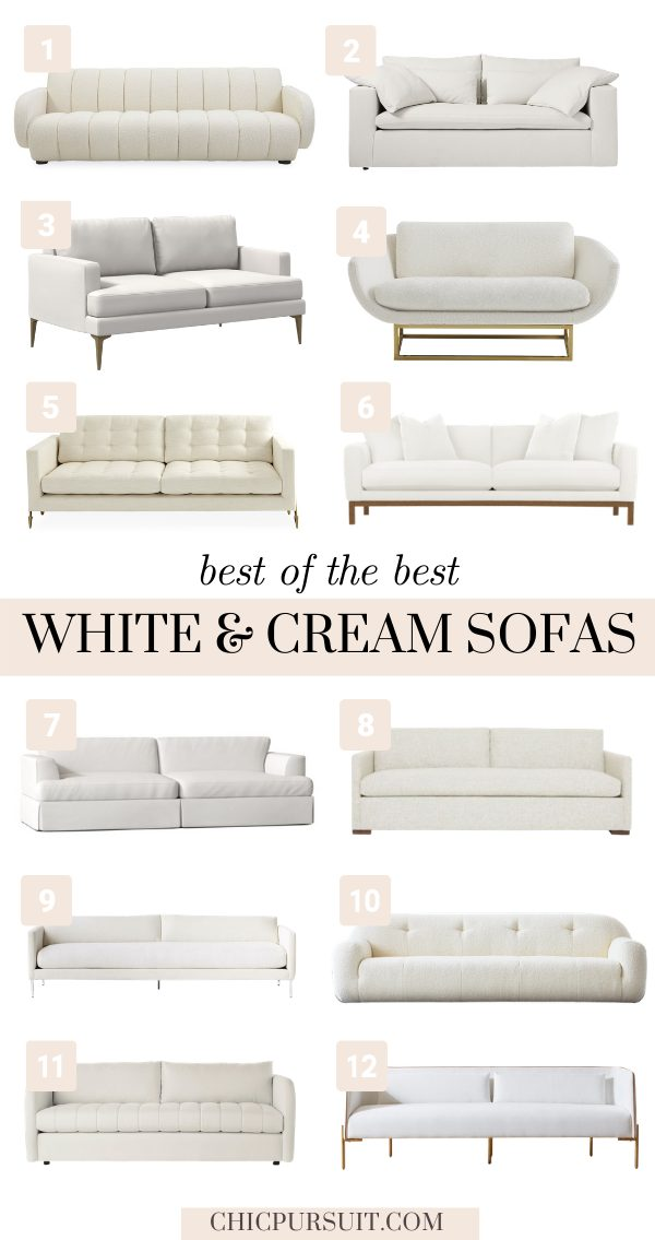 Stylish white and cream sofas and couches