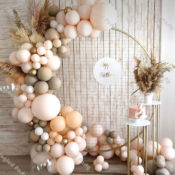 Matte ombre cream and peach balloon garland arch