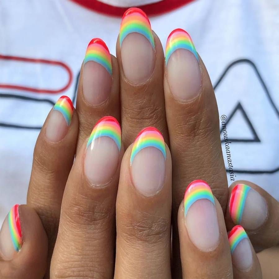 Simple French tip rainbow nails