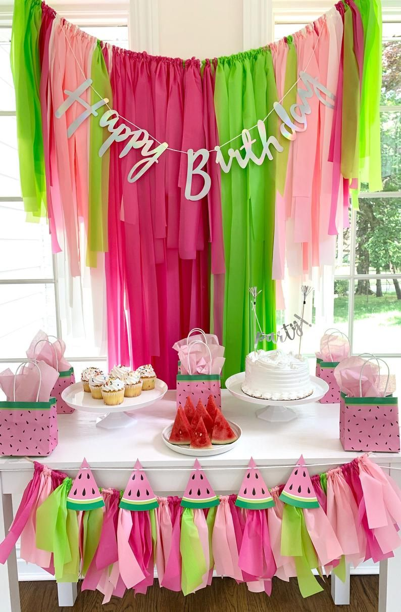 Watermelon fringe birthday party decoration